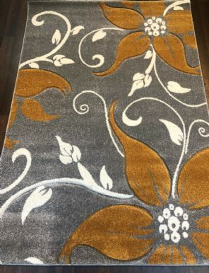 LILLY RANGE NEW IN WOVEN RUG HAND CARVED APROX 6X4FT 120X170CM SILVER/YELLOW